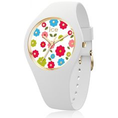 99€. Boitier rond silicone blanc 34mm taille S, cadran blanc motif fleur, bracelet silicone blanc, étanche 100m Ice Watch, Flower Power, Bracelet Silicone, Watches, Africa Dress, Flowers, Animales, Jewerly, White People