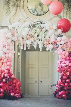 fun pink wedding ideas - photo by Jessica Withey Photography http://ruffledblog.com/20-ceremony-backdrops-for-tears-of-joy/