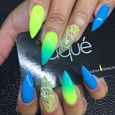Obsessed with ombré lately 🔥 Neon Green Nails, Neon Nail Art, Neon Nails, Cute Acrylic Nails, Swag Nails, Pink Nails, Cute Nails, Neon Nail Designs, Happy Nails