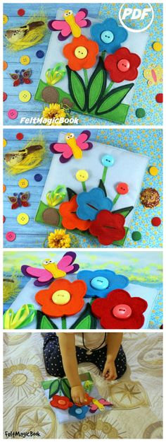 The pattern includes pages of colored pictures, patterns, and tips. Different kinds of clasps and fasteners are used, for example, Velcro, ribbons, clasp buttons. All these components stimulates baby's fine motor skills and develop hands motions. The plaything develops: - Fine motor skills; - Acuteness; - Spatial imagination; - Logical thinking; - Attention to detail; - Creativity; - Perseverance.
