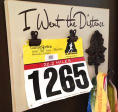 Running Medal holder and Running Race bib Holder - I Went the Distance by FrameYourEvent on Etsy https://www.etsy.com/listing/162710668/running-medal-holder-and-running-race