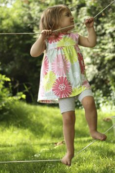 Backyard Tight Rope for Kids -for fun and gross motor development - Happy Hooligans