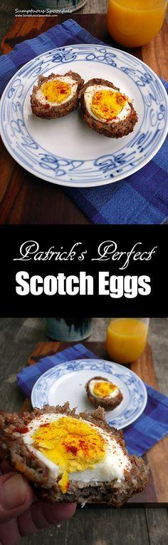 Patrick's Perfect Scotch Eggs ~ Sumptuous Spoonfuls #sausage #egg #recipe #tribute