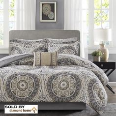 Complete 9-piece Bed in a Bag with Sheet Set. Reversible Medallion Print Neutral Microfiber Oversized King Comforter, 104 X 92 Inches