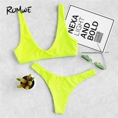 Romwe Sport Neon Green Plunge Neckline Vest Bikini With High Leg Bottom Women Bikini Sets Plain Swimsuit Beach Sexy Swimwear. Robert Kardashian, Khloe Kardashian, Kardashian Kollection, Kendall Jenner Moda, Kris Jenner, Neon Bikinis, Bikini Swimwear, String Bikinis, Bikinis Tumblr
