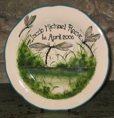 Personalised dragonfly Wemyss Ware plate Griselda Hill Pottery Ltd