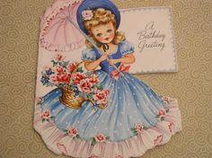 Vintage Birthday Card - Little Parasol Southern Belle Girl - Used Vintage Birthday Cards, Vintage Greeting Cards, Birthday Greeting Cards, Birthday Greetings, Vintage Postcards, Happy Birthday, My Childhood Memories, Sweet Memories, Vintage Pictures