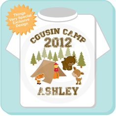 Personalized Cousin Camp Shirt or Onesie, perfect for Grandma's summer camp. $14.99, via Etsy.