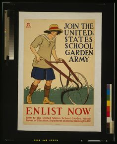 Shop Vintage Enlist U. School Garden Army Poster Art created by postershoppe. Personalise it with photos & text or purchase as is! Vintage Advertisements, Vintage Ads, Vintage Posters, Vintage Photos, Retro Posters, Vintage Food, Advertising Ads, Retro Ads, Vintage Artwork