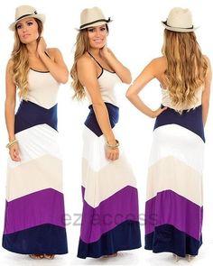 Womens Dress Halter Chevron Striped Color Block Long Maxi Summer Sun Dress s M L   eBay