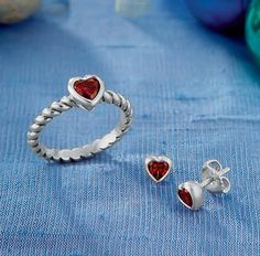 Heart with Garnet Twisted Wire Ring & Garnet Heart Ear Posts from James Avery Jewelry
