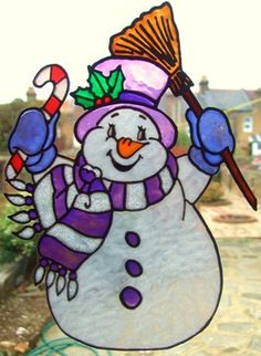 snowman tole paintings free | Cute Snowman Window Cling hand painted cute snowman window cling ...