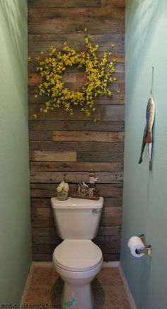 35 Crazy And Handsome Tiny Powder Room With Color And Tile Page 25 of 42 Modern Bathroom Decor, Bathroom Design Small, Bathroom Ideas, Bathroom Designs, Bathroom Organization, Toilet Room, New Toilet, Wood Grain Wallpaper, Tiny Powder Rooms