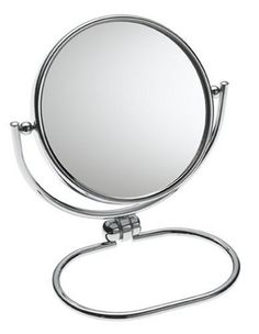 Jerdon  MC310C 3-Inch Folding Mirror with Pouch, 10X Magnification, Chrome Finish by Jerdon. $9.99. With an economical design, this mirror folds flat and stows in suitcases, totes and storage bins. What makes this mirror distinct is its base tilt adjustment and 360-deegree swivel rotation. This chrome mirror stands upright on countertops, vanities and tables and its lustrous finish is perfect for the bathroom. The versatile design offers 10x magnification and m...