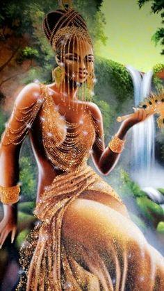 Discover recipes, home ideas, style inspiration and other ideas to try. Black Love Art, Black Girl Art, Art Girl, African Mythology, African Goddess, Oshun Goddess, Goddess Art, Orishas Yoruba, Afrique Art