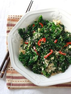 Roasted kale with peppers & olives