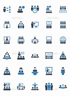 Business Conference Icons - Blue Version