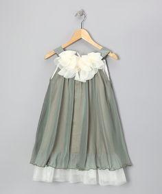 Another great find on #zulily! Sage & White Floral Yoke Dress - Toddler & Girls by Kid's Dream #zulilyfinds