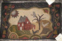 Primitive Junky: 2011 Nebraska Spring Hook-in. Salt box farm by Wooly Woolens Next Rugs, Rug Hooking Designs, Hand Hooked Rugs, Wool Art, Penny Rugs, Wool Applique, Woven Rug, Textile Art, Fiber Art