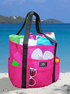 Mesh Family Beach Tote - Caribbean Hot Pink & Black Whale Bag w Black Hook by Saltwater Canvas Best Beach Bag, Beach Fun, Beach Trip, Beach Gear, Beach Travel, Large Beach Bags, Beach Tote Bags, Large Tote, Beach Bag Essentials
