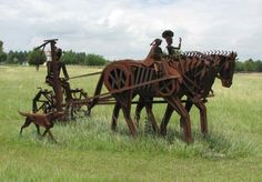 """Riding to the Meadow"" - metal sculpture by Franklin L. Jensen at Henry's Sculpture Hill near Augusta, Kansas"