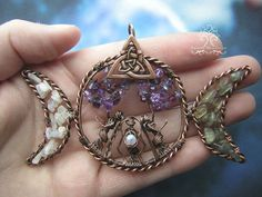 Triple Moon Goddess Maiden Mother Crone Tree of Life Wire Wrapped Pendant Jewelry or Ornament Moonstone Labradorite Amethyst Crystals Wire Pendant, Wire Wrapped Pendant, Pendant Jewelry, Goddess Symbols, Moon Symbols, Maiden Mother Crone, Nature Symbols, Triple Moon Goddess, Magical Jewelry