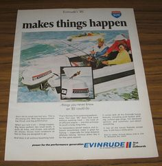 1970 Vintage Ad Evinrude 85 Outboard Motors Couple Fishing Milwaukee,WI #VintageAdvertising