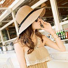 Amazon.com  80Store Newest Woman Fashion Black Bowknot Decor Cloche Bucket  Summer Beach Straw Sun Hat Floppy Brim (Light Coffee)  Home   Kitchen 9f275ca8dd1e