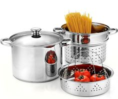 Cook N Home Stainless Steel 4 Piece Pasta Cooker Steamer Multi-Pot