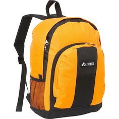 Everest Backpack with Front & Side Pockets - Orange - School Backpacks ($11) ❤ liked on Polyvore featuring bags, backpacks, orange, school & day hiking backpacks, everest bags, orange bag, yellow backpack, orange backpack and everest
