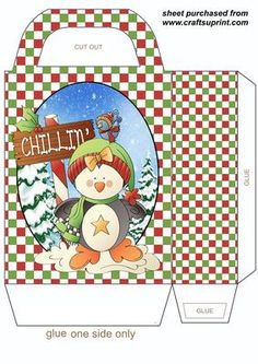 Just chillin penguin gift bag on Craftsuprint designed by Stephen Poore - Just chillin penguin gift bag,you will need to print 2 sheets to make the gift bag - Now available for download!