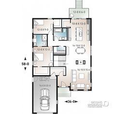 Plan maison 2 chambres, 2 s.bain, garage, 3208-V2 | Dessins Drummond Sims House Plans, Small House Plans, House Floor Plans, Huge Houses, Small Houses, Cottage Design, House Design, Bungalow, Garage Apartment Plans
