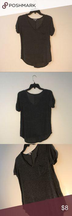 Grey V-Neck Grey v-neck with pocket on the left, NEVER WORN! Charlotte Russe Tops Tees - Short Sleeve
