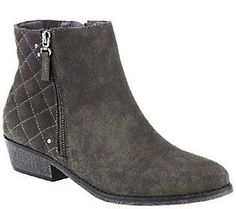 As Is White Mountain Water Resistant Suede Ankle Boots