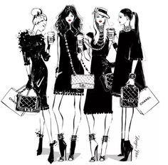 """""""On some Monday's, only a CHANEL will do. Coco Chino anyone? Arte Fashion, Fashion Design, Ballet Fashion, Megan Hess Illustration, Kerrie Hess, Chanel Art, High End Fashion, Fashion Sketches, Fashion Illustrations"""