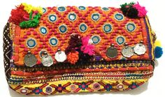 Multi Red Boho Gypsy tribal Hippie Ethnic mirror work Vintage Banjara clutch #Handmade #Clutch