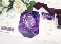 This lovely watercolor goodness was designed to incorporate Katie's vision  of using various hues of purples. We paired the invitation suite with a  lovely ivory pocket folder and coordinating monogram sticker.