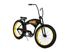 Micargi Slugo Moon-type Handle Bar Beach Cruiser Bike, Matte Black with Neon Green Rims - Fat Tire 4.0 Chopper Style (B series) – kookabike