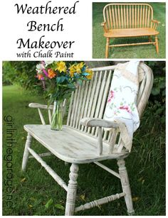 Beautiful weathered wood bench makeover with Annie Sloan Chalk Paint in Old Ochre.  girlinthegarage.net