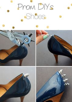 zapatos picos Shoe Makeover, Diy Vetement, Shoe Crafts, Studded Flats, Spike Heels, Diy Clothing, Diy Fashion, Shoe Boots, Spikes