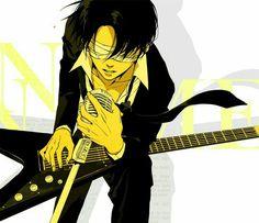 No Name, playing, guitar, singing, Levi Ackerman, microphone, text; Attack on Titan: Junior High