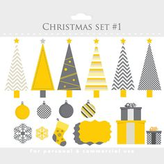 Christmas clipart and paper set - clip art, digital papers for scrapbooking, holiday, festive, chevron, yellow, gray, Christmas trees