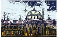 The Royal Pavilion, Brighton : Linocut : Jackie Field Woodcut Art, Linocut Prints, Art Prints, Landscape Prints, Urban Landscape, Royal Pavilion, Brighton England, Wood Engraving, Cool Art