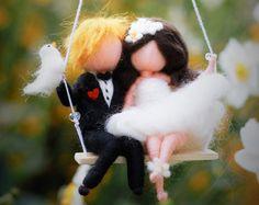 Wedding, love, wedding couple ornament, personalized gifts, felt, needle felting, gift ideas, mobile