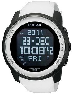 Pulsar Mens World Time Alarm Chrono - White Rubber Strap - Negative Display