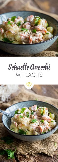 Delicious in 20 minutes for dinner: Delicious gnocchi with a good cream sauce and spicy smoked salmon. You deserve it! Delicious in 20 minutes for dinner: Delicious gnocchi with a good cream sauce and spicy smoked salmon. You deserve it! Salmon Recipes, Fish Recipes, Healthy Recipes, Salmon With Cream Sauce, Salmon Sauce, Le Diner, Pizza Recipes, Food Inspiration, Love Food