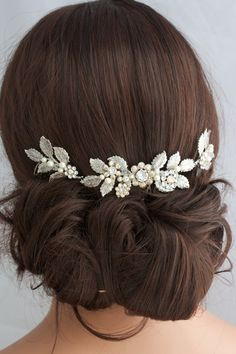 Antique Silver Wedding Hair Accessory Leaf Hair by LuluSplendor