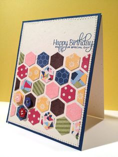 Cute hexagon card over at The Hybrid Chick. Cute way to use up paper scraps too.