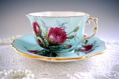 Antique Hammersley Rose Tea Cup and Saucer by TeacupsAndOldLace