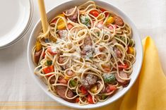 Chicken Sausage, Peppers & Tomatoes with Linguine recipe